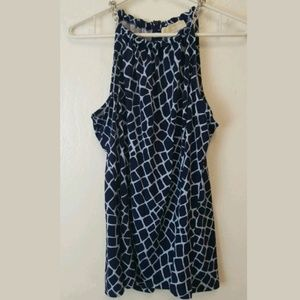 Michael Kors Top A-Line Tank W/Chain Navy Sz L